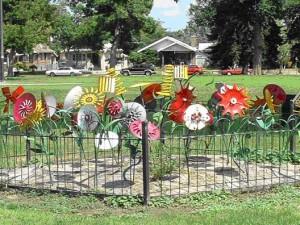 Flower sculpture in Chaffee Park